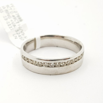 9CT 6.4GR WHITE GOLD 0.45CT DIAMOND MENS BAND VAL $2925 SIZE X #27999