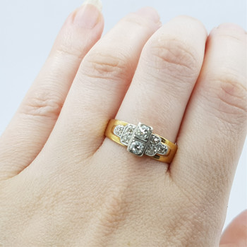 18CT 6.4GR YELLOW GOLD 0.74CT TDW OLD CUT DIAMOND RING VAL $3845 SIZE S 1/2 #45908