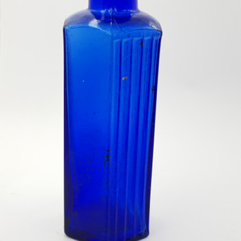 "COBALT BLUE GLASS BOTTLE ""NOT TO BE TAKEN"" - MADE IN JAPAN #43131"