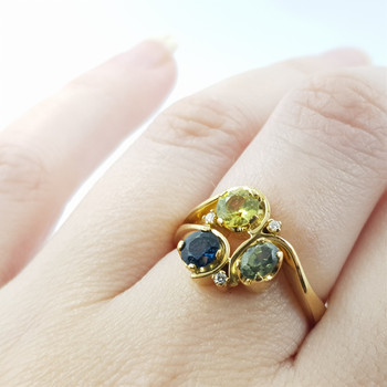 18ct Free Flowing Sapphire & Diamond Ring Val $3500 Size O 1/2 #27437
