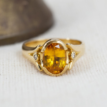 18CT GOLD 1.9CT YELLOW SAPPHIRE & DIAMOND RING VAL $5800 SIZE L #27439