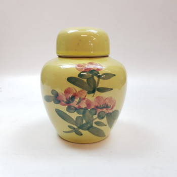 SMALL GREEN FLORAL VASE / URN 12CM #53431