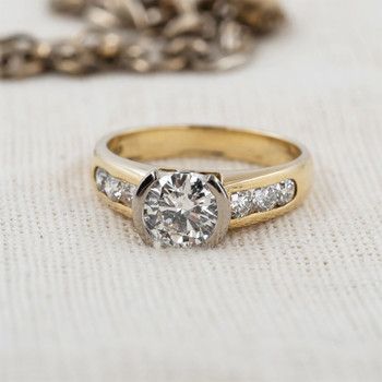18CT YELLOW GOLD 1.05CT + 0.48CT DIAMOND RING VAL $20550 SIZE N 1/2 #53551