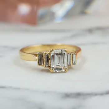 18CT YELLOW GOLD 1.42CT TDW BAGUETTE DIAMOND RING VAL $17250 SIZE N 1/4 #53846