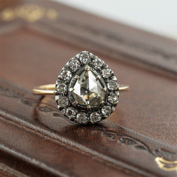 18CT YELLOW GOLD ANTIQUE ROSE CUT 1.48CT TDW DIAMOND CLUSTER RING VAL $7100 SIZE Q #53851