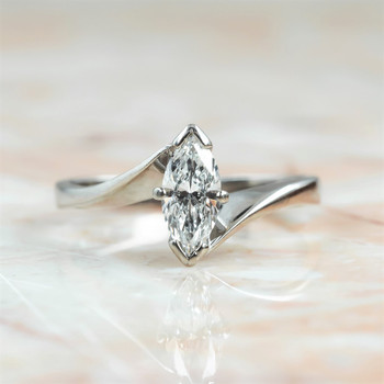 18CT WHITE GOLD 0.50CT MARQUISE CUT DIAMOND RING VAL $4800 SIZE I 1/2 #3011779