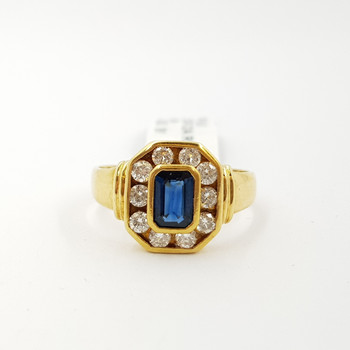 18CT YELLOW GOLD SAPPHIRE & DIAMOND OCTAGON HALO RING VAL $3950 SIZE N #A808558