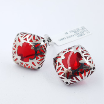 STERLING SILVER RED GLASS CLIP EARRINGS #53824