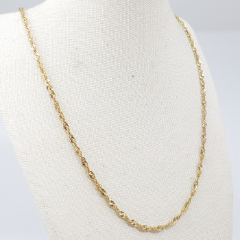 9CT 43CM 3.9GR YELLOW GOLD CURB TWIST CHAIN ITALIAN NECKLACE #52734 **