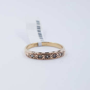 9CT 1.8GR YELLOW GOLD VINTAGE CZ RING SIZE N 1/2 #52501