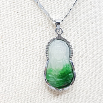 18CT WHITE GOLD PLATED CHAIN & GREEN BUDDAH PENDANT #53940