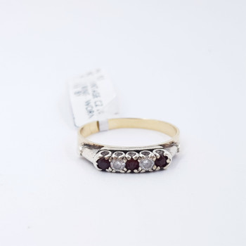 9CT TWO TONE GOLD VINTAGE CZ & RED STONE RING SIZE P #52506
