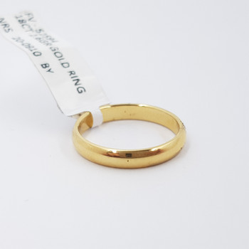 18CT 2.6GR YELLOW GOLD PLAIN ROUNDED BAND RING SIZE K #52594 **