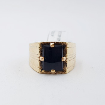 VINTAGE 9CT 7.7GR YELLOW GOLD ONYX SIGNET RING SIZE S #52678