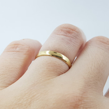 9CT 1.1GR YELLOW GOLD PLAIN BAND RING SIZE L #52820 **