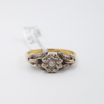 18CT VINTAGE TWO TONE GOLD DIAMOND FLOWER SETTING RING SIZE O #53834