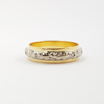 18CT TWO TONE GOLD BAND RING SIZE H 1/2 #53840