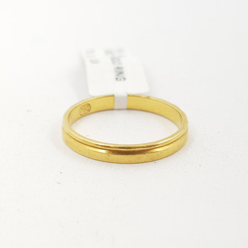 18CT YELLOW GOLD THIN PLAIN BAND SIZE L #42464 **