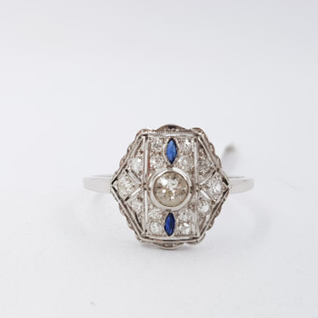 14CT EDWARDIAN WHITE GOLD SAPPHIRE DIAMOND RING c/1910 VAL $3170 SIZE R 1/2#53886