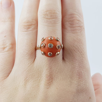 14CT VINTAGE ORANGE CORAL & DIAMOND COCKTAIL RING VAL $3250 SIZE O #53885