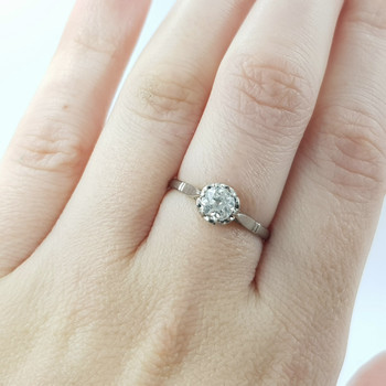 PLATINUM VINTAGE 0.61CT DIAMOND SOLITAIRE ENGAGEMENT RING VAL $3185 SIZE O #53887