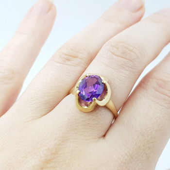 14CT YELLOW GOLD PURPLE SAPPHIRE COCKTAIL DRESS RING SIZE N #51592
