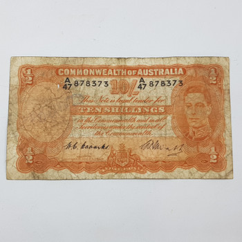 TEN 10 SHILLINGS NOTES A47 S/N:878373 COOMBS WATT CIRCULATED #53155