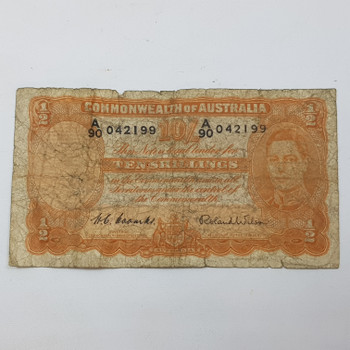 TEN SHILLINGS NOTES A90 S/N:042199 COOMBS WILSON - POOR CONDITION #53156