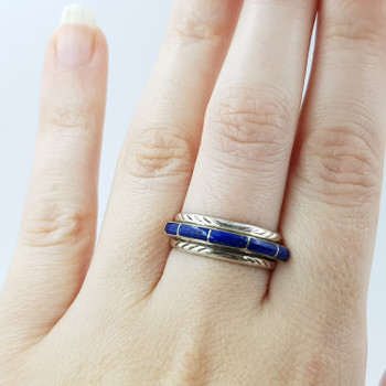 SILVER VINTAGE STYLE BLUE STONE DRESS RING SIZE P #52384
