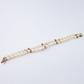 14CT YELLOW GOLD CULTURED PEARL DIAMOND & RUBY BRACELET VAL $3425 #36863