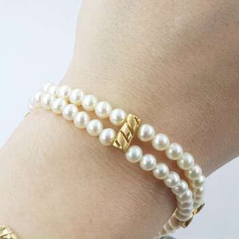 14CT YELLOW GOLD DOUBLE PEARL STRAND BRACELET VAL $1240 #37663