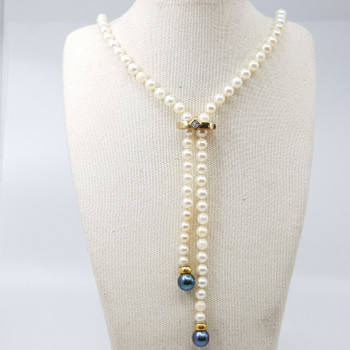SALTWATER CULTURED PEARL STRAND & DIAMOND NECKLACE VAL $2880 $78CM #34191