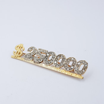 "14CT YELLOW GOLD ""$250000"" DIAMOND BROOCH VAL $1620 #23592"