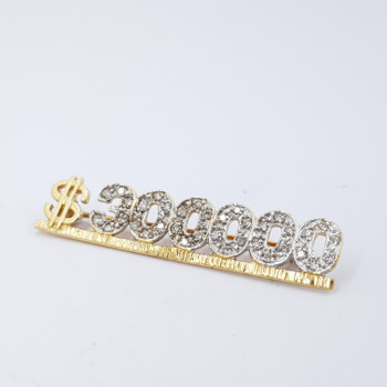 "14CT YELLOW GOLD ""$300000"" DIAMOND BROOCH VAL $2280 #23593"