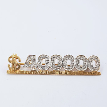 "14CT YELLOW GOLD ""$400000"" DIAMOND BROOCH VAL $2355 #23594"