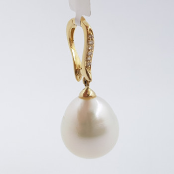 14CT YELLOW GOLD SOUTH SEA PEARL & DIAMOND PENDANT VAL $1300 #52665