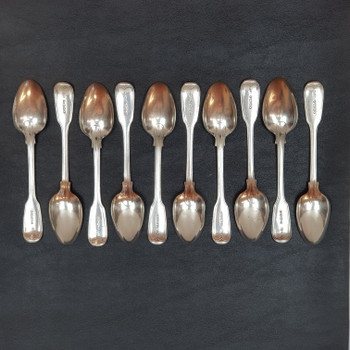 ELIZABETH EATON SPOON SET ANTIQUE STERLING SILVER LONDON C.1853 25 PIECE SET #53349