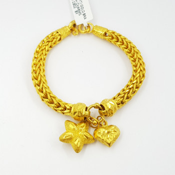 23CT (2 BAHT) 30.4GR YELLOW GOLD BRACELET WITH CHARMS #53854 **