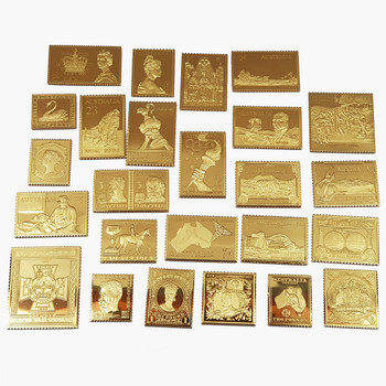 THE AUSTRALIAN COLLECTION - 25 PIECE 24CT GOLD PLATED SILVER STAMP SET #53130