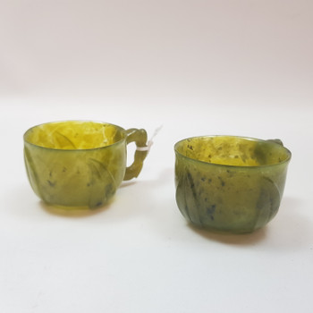 PAIR OF GREEN SERPENTINE CUPS - IN BOX #47141