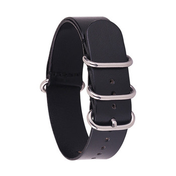 LEATHER NATO WATCH STRAP - BLACK WITH SILVER BUCKLE