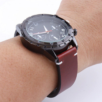 PREMIUM LEATHER TWO PIECE WATCH STRAP - RED WITH SILVER BUCKLE