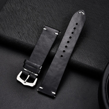 PREMIUM LEATHER TWO PIECE WATCH STRAP - BLACK WITH SILVER BUCKLE