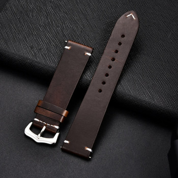 PREMIUM LEATHER TWO PIECE WATCH STRAP - DARK BROWN WITH SILVER BUCKLE