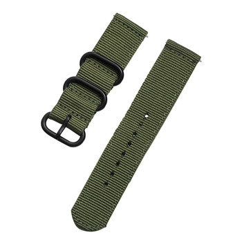 PREMIUM NYLON TWO PIECE WATCH STRAP - ARMY GREEN WITH BLACK BUCKLE