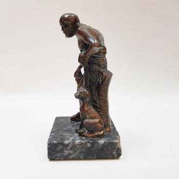 JAPANESE BRONZE SCULPTURE - MAN & DOG WITH MARBLE BASE #53935