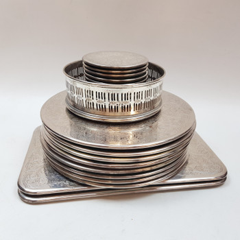 SILVER PLATED STRACHEN COASTER / PLACEMAT SET #53320