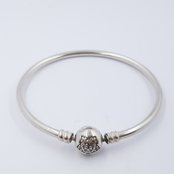 PANDORA SILVER BANGLE WITH SNOWFLAKE CLASP 16.5CM #53031