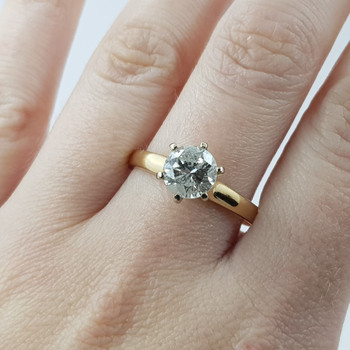 14CT GOLD 1.76CT DIAMOND SOLITAIRE ENGAGEMENT RING VAL $14200 SIZE T 1/2 #54001