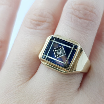 9CT VINTAGE YELLOW GOLD MENS SAPPHIRE SIGNET RING SIZE Q #53222
